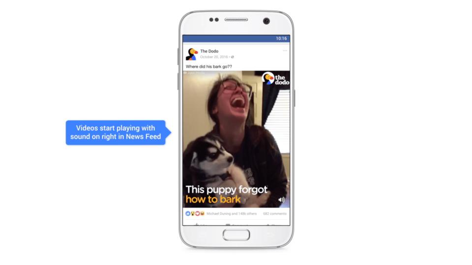 Imagem indicativa de que os vídeos no Facebook agora têm som por padrão.