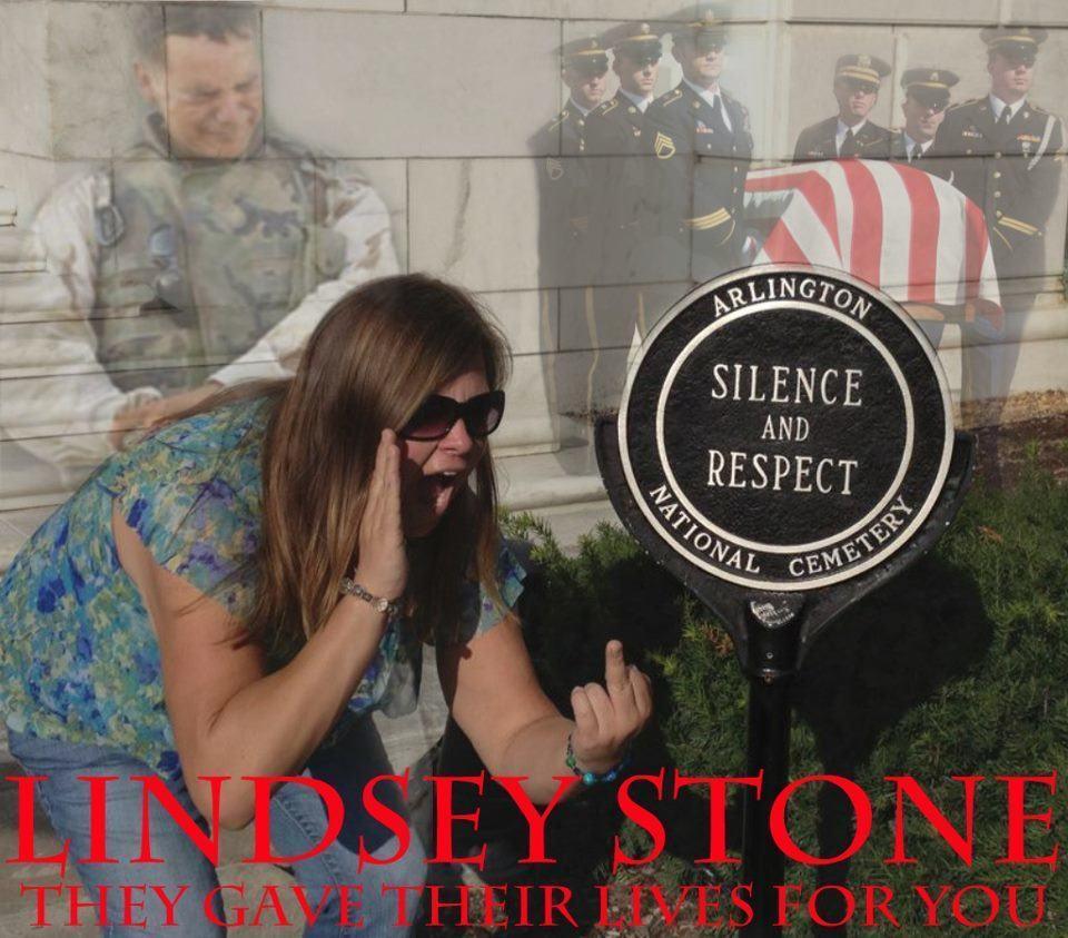 Montagem com a foto de Lindsey Stone.