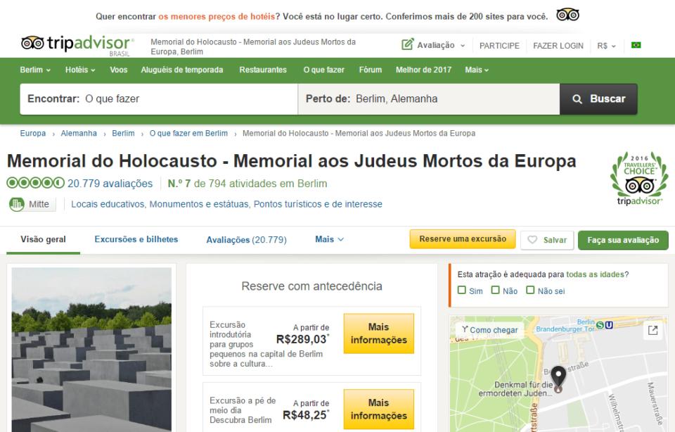Print do site do TripAdvisor na página do Memorial do Holocausto em Berlim.