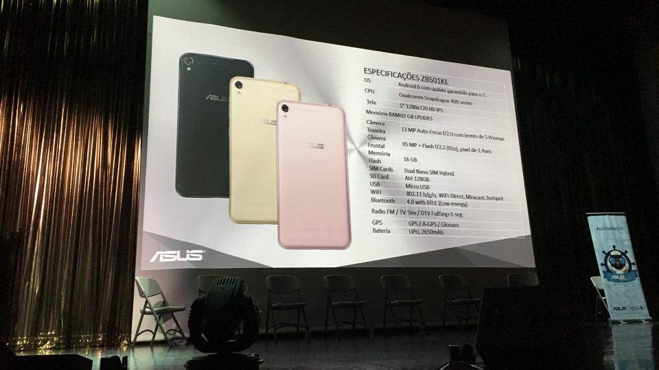 Especificações do Zenfone Live.
