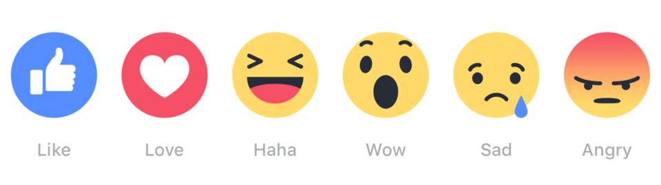 As seis reações do Facebook.