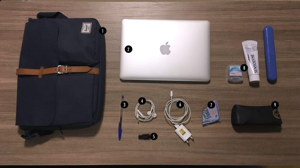 O que tem na mochila do Rodrigo Ghedin.