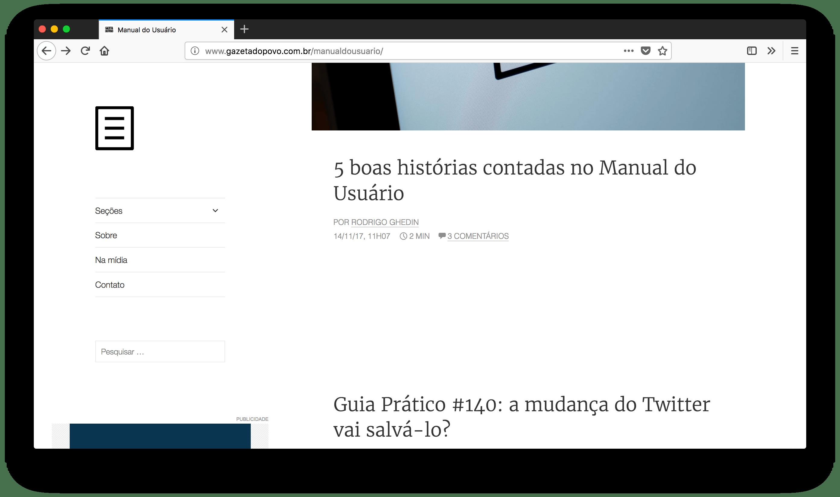 Manual do Usuário aberto no Firefox Quantum, no macOS.
