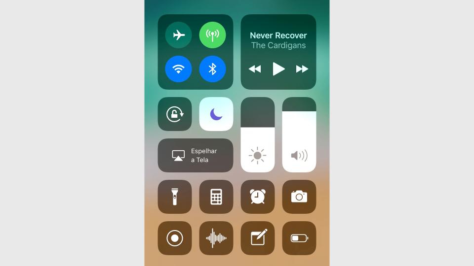 """Central de Controle do iOS 11 com o """"Não Perturbe"""" ativado."""