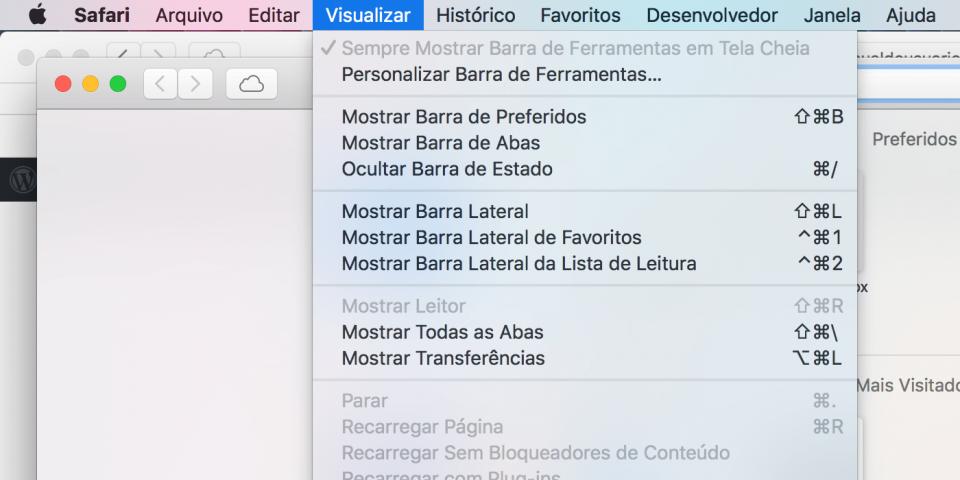 Print do menu 'Visualizar' do Safari na barra de menus, aberto.