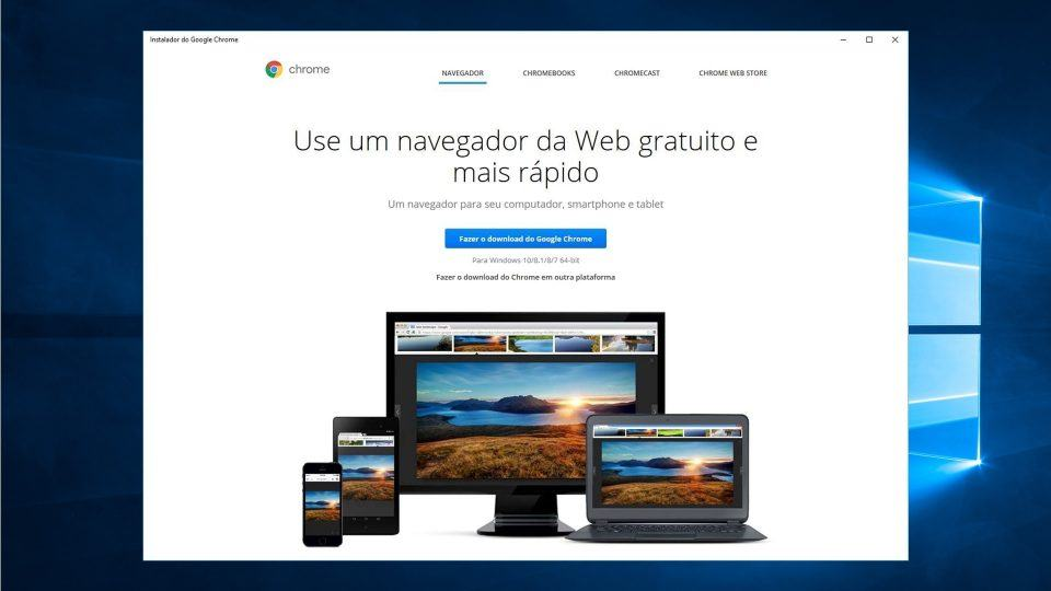 Tela do Instalador do Google Chrome para Windows 10.