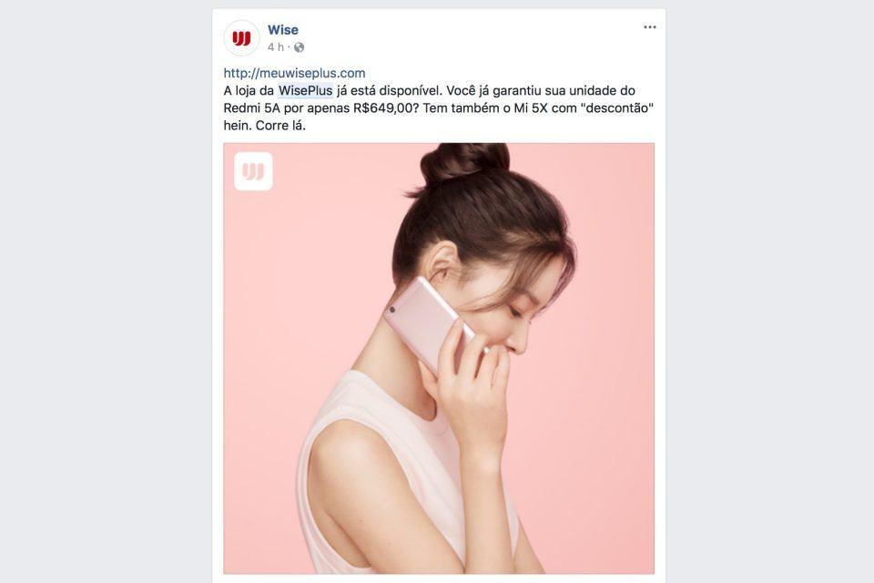 Post da WisePlus no Facebook.