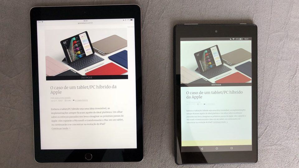 iPad Pro e Kindle Fire HD8 colocados lado a lado.