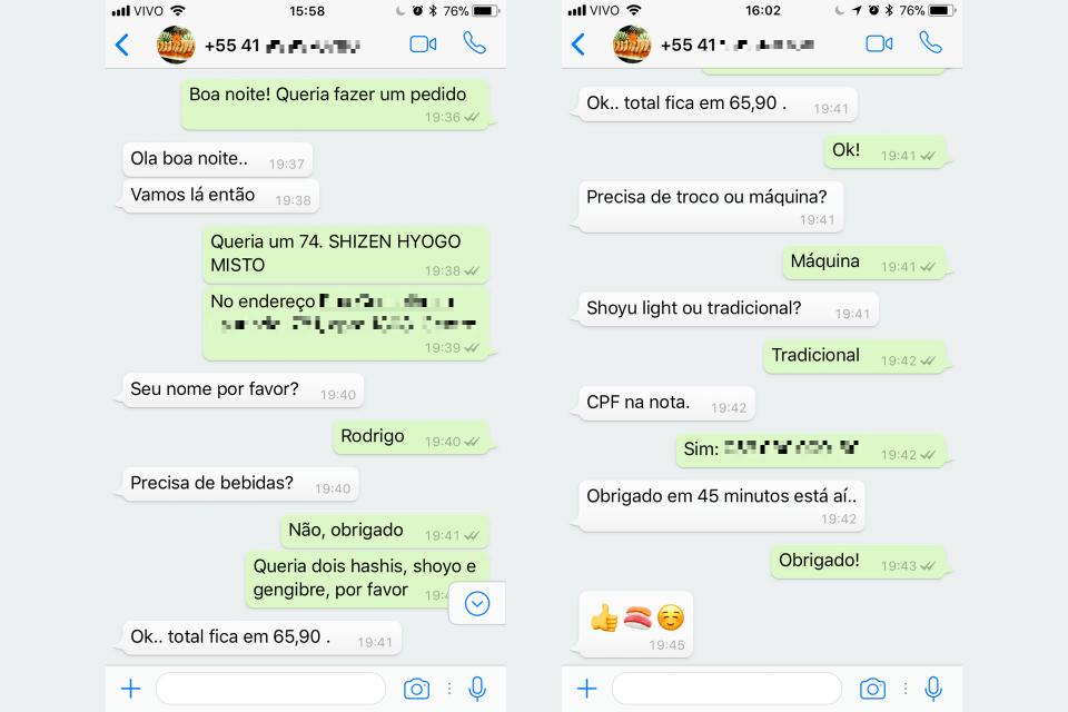 Diálogo com um restaurante, pelo WhatsApp, para comprar comida.