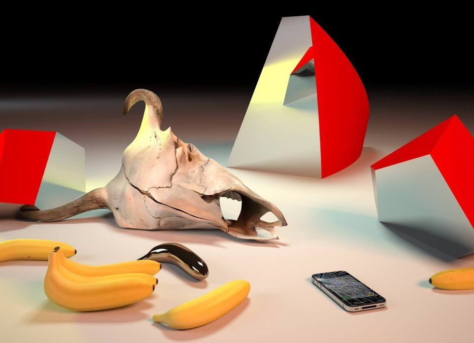 Obra do artista Takeshi Murata, exibindo um iPhone com a tela quebrada.