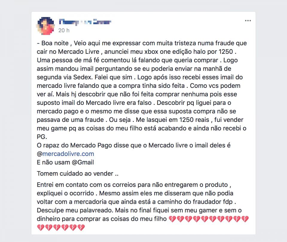 Relato de uma vítima do golpe do Mercado Livre, no Facebook.