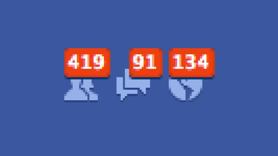 Notificações do Facebook pixeladas.