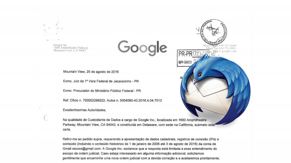 Logo do Thunderbird sobre resposta do Google nos autos.