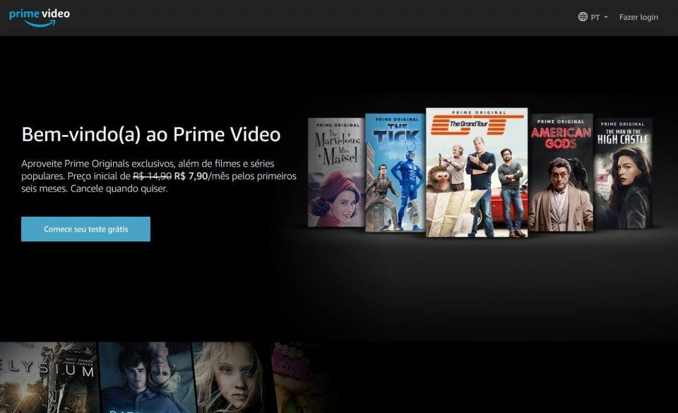 Tela inicial do site do Amazon Prime Video.