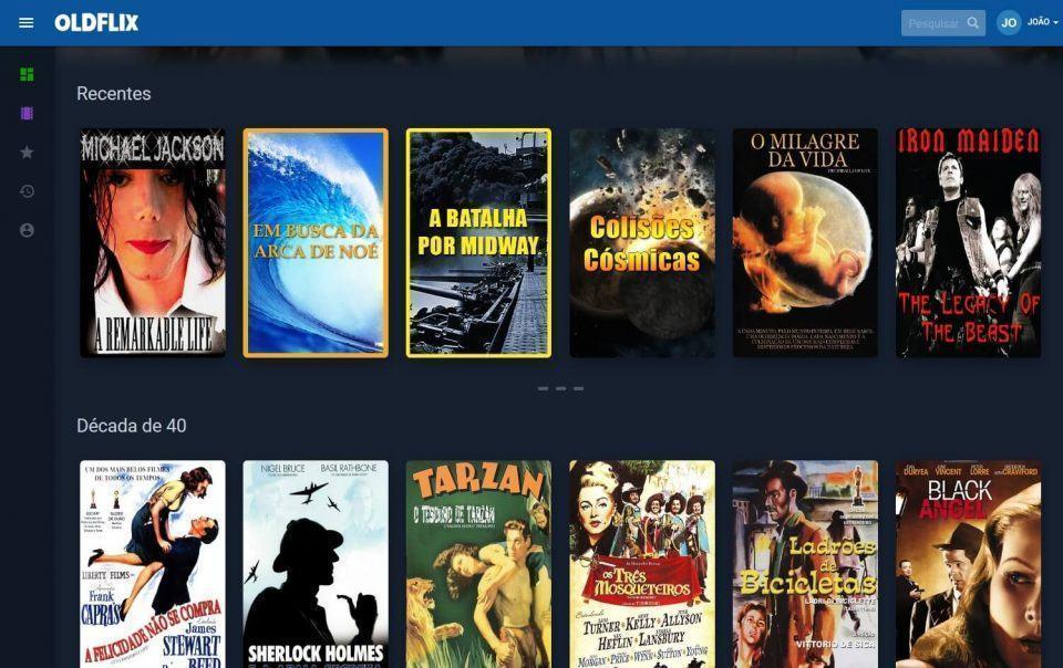 Lista de filmes recentes da Oldflix.