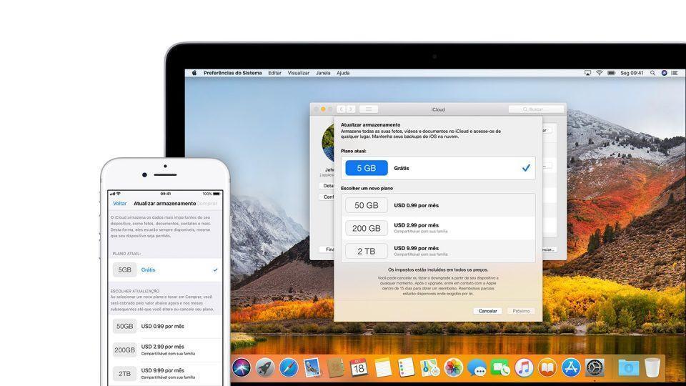 Opções de upgrade do iCloud em um iPhone e um MacBook.