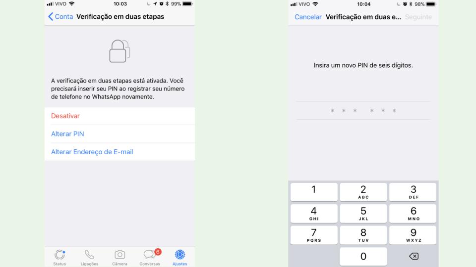 Telas da verificação em duas etapas do WhatsApp.