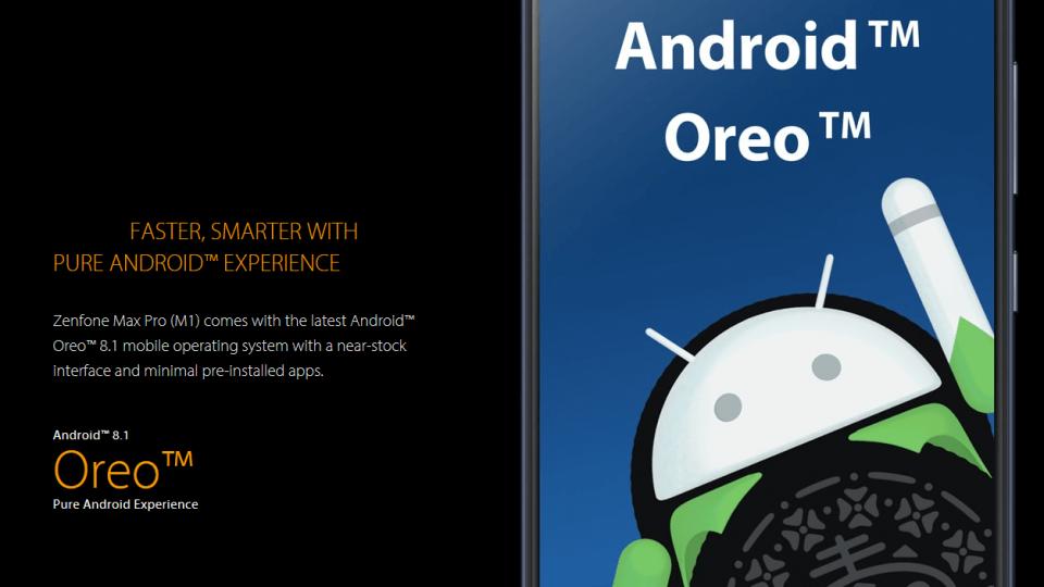 Publicidade do Android One no site do Zenfone Max Pro M1.