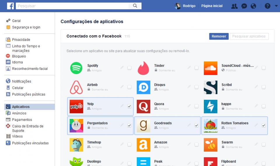 Remoção em lote de apps conectados ao perfil no Facebook.
