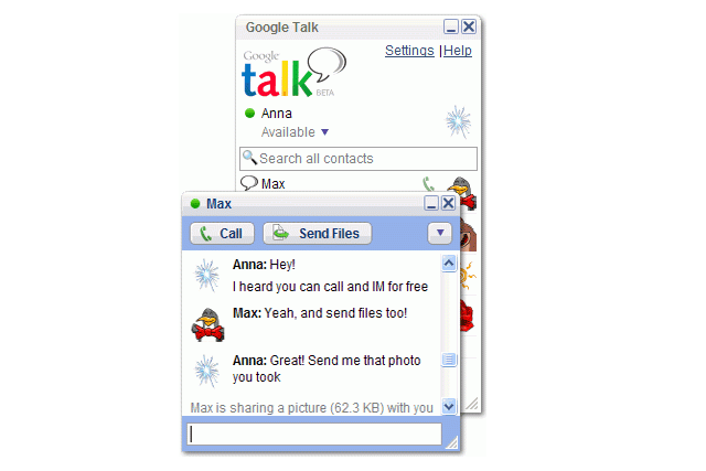 Tela do GTalk para Windows.