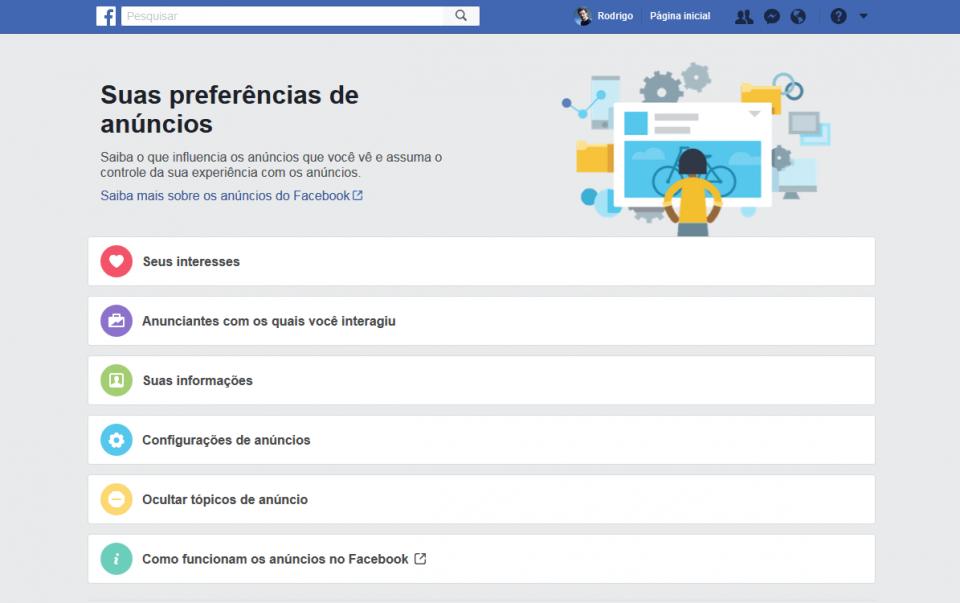 Tela que concentra preferências de anúncios do Facebook.