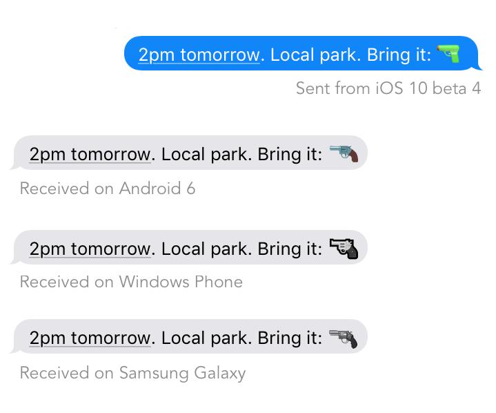 Diálogo com emoji de arma em diferentes plataformas.