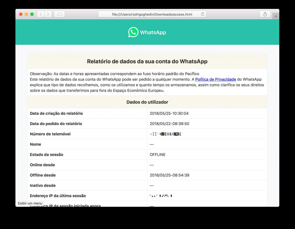 Janela do Safari com o relatório do WhatsApp aberto.
