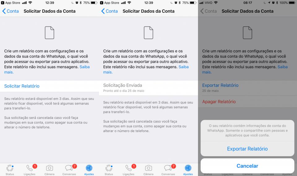 Telas mostrando as etapas de solicitação do relatório (ou backup) do WhatsApp.