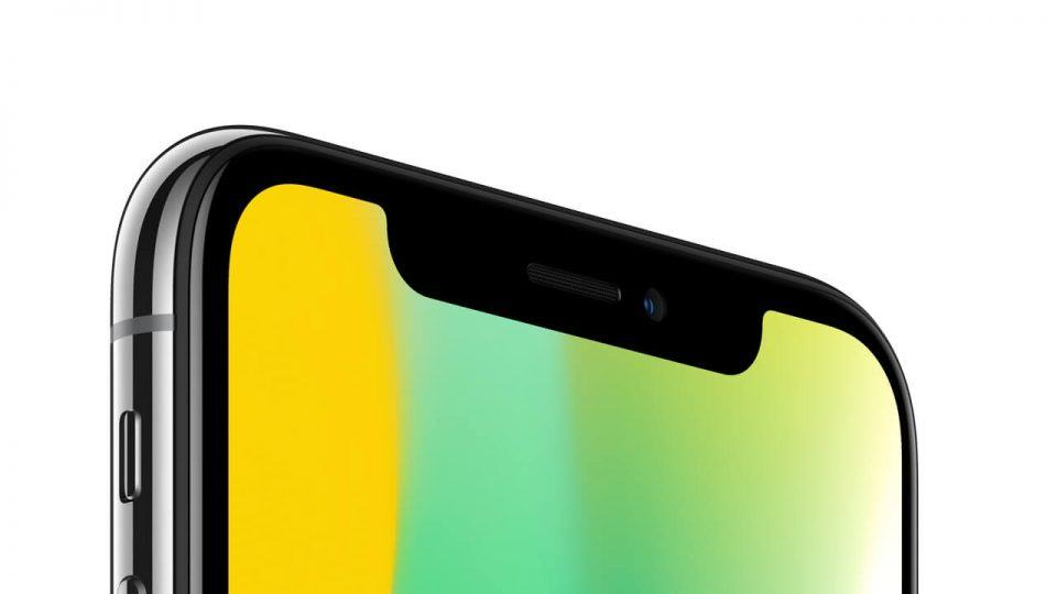 Detalhe do entalhe na tela do iPhone X.