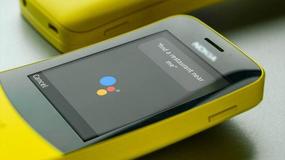 Feature phone da Nokia com o Google Assistente na tela.
