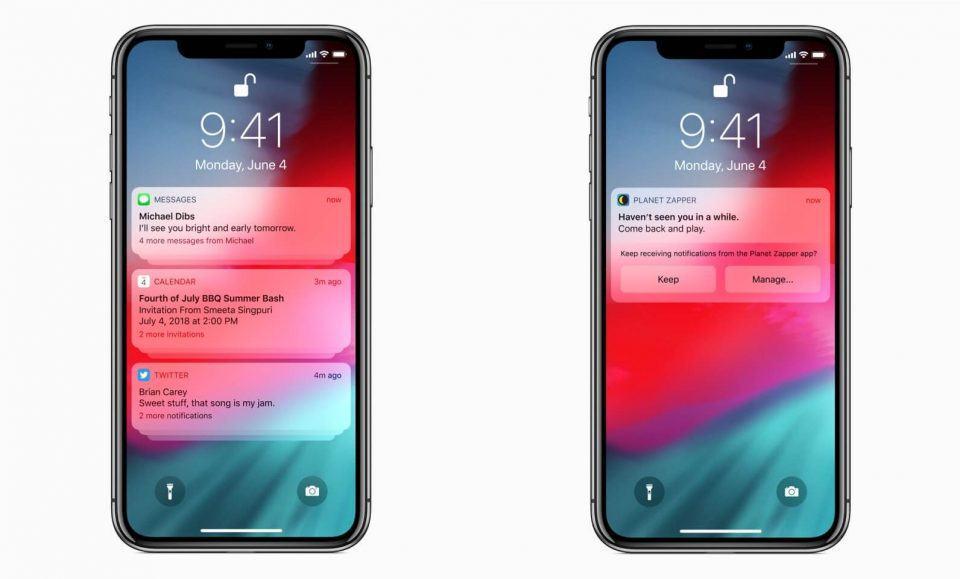Telas de bloqueio do iOS 12 em um iPhone X.