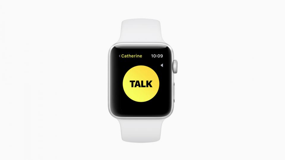 Foto de um Apple Watch mostrando o app Walkie-talkie.