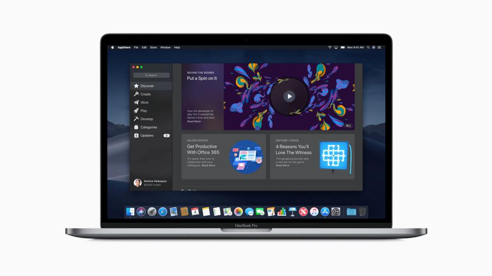 Print do macOS Mojave com a nova App Store em destaque.