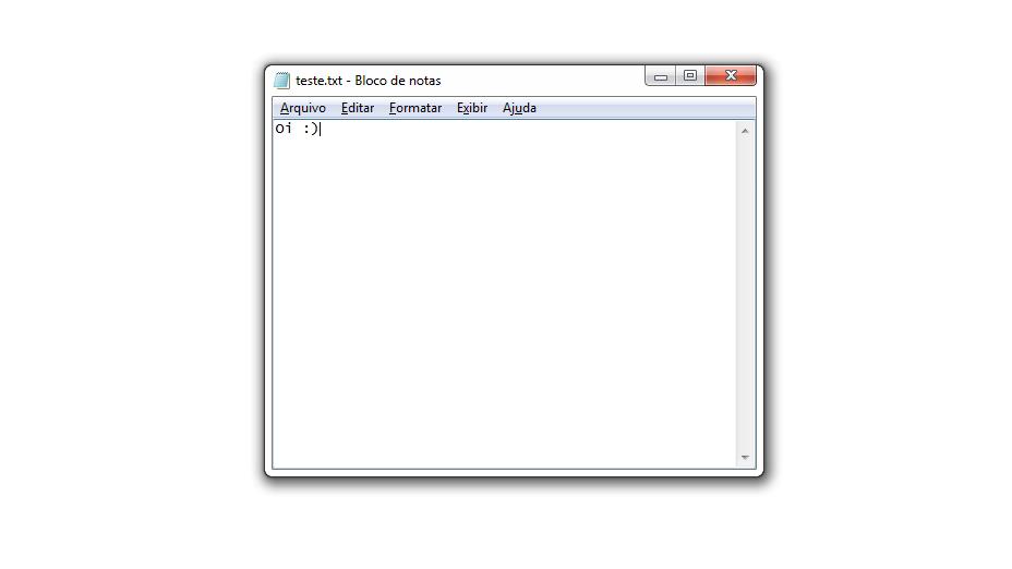 Print do Bloco de Notas no Windows 7.