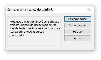 Janela do WinRAR que aparece após 40 dias de uso.