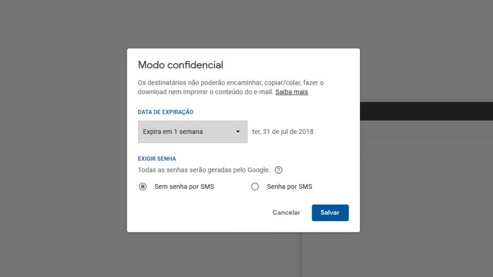 Print da tela de configuração do modo confidencial do Gmail.
