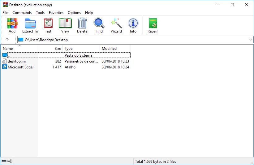 Tela do WinRAR 5.60 com os novos ícones.