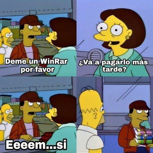 Meme do WinRAR com personagens d'Os Simpsons.