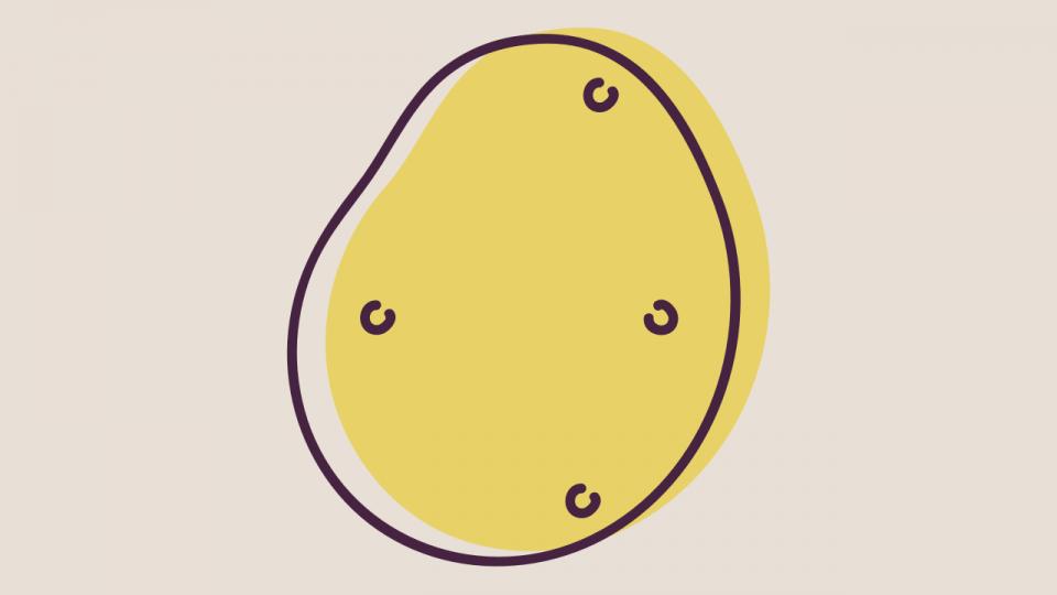 Uma batata, o ícone do Couch Potato.