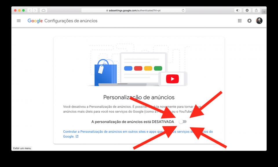 Desativar personalização de anúncios Google.