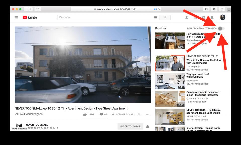 Desativar reprodução automática YouTube.