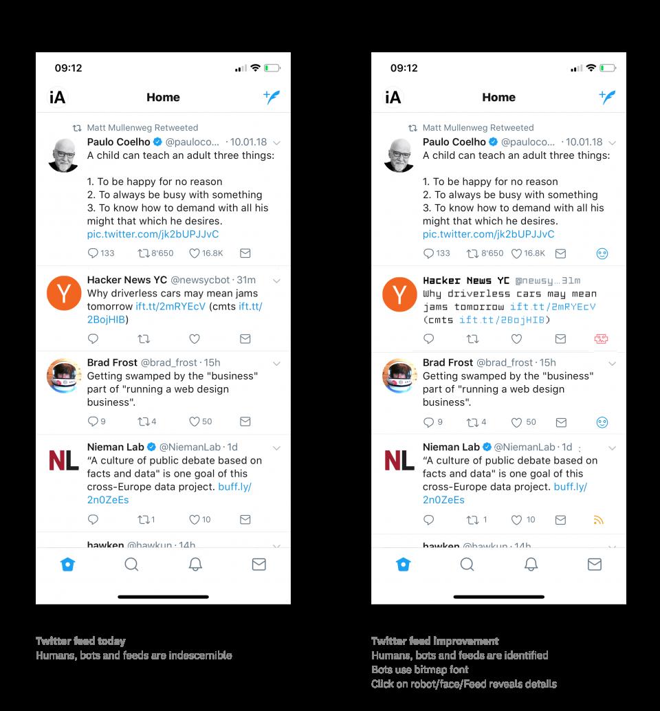 Comparativo do app do Twitter convencional e da alteração com posts de robôs identificados.