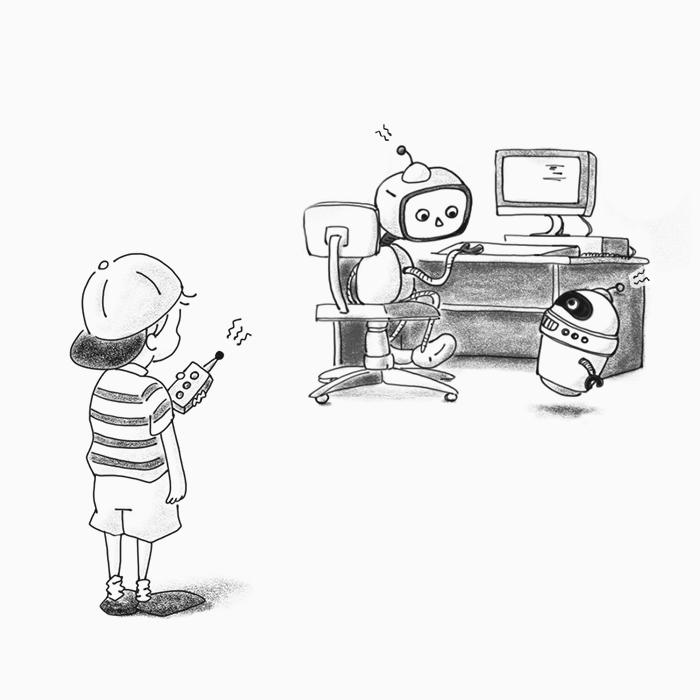 Menino controlando o robô à distância.