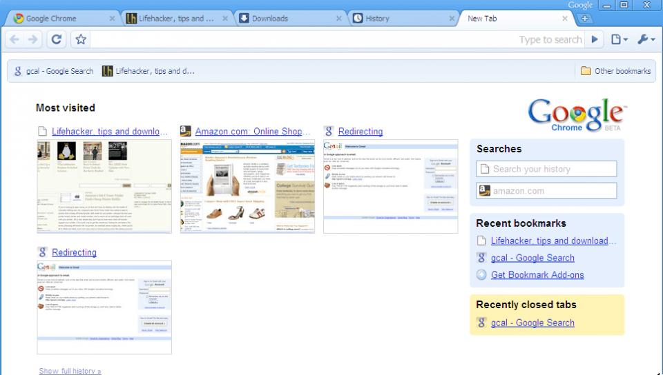 A primeira versão do Chrome.