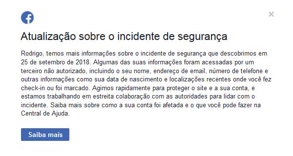Print da mensagem que os usuários do Facebook afetados pelo vazamento recebem ao logar na rede social.