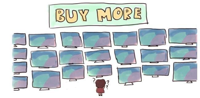 Desenho de uma pessoa em frente a várias TVs em uma loja.