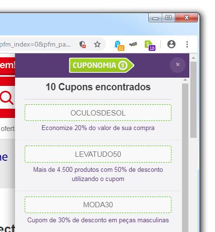 Extensão Cuponomia exibindo cupons ativos em uma loja virtual.