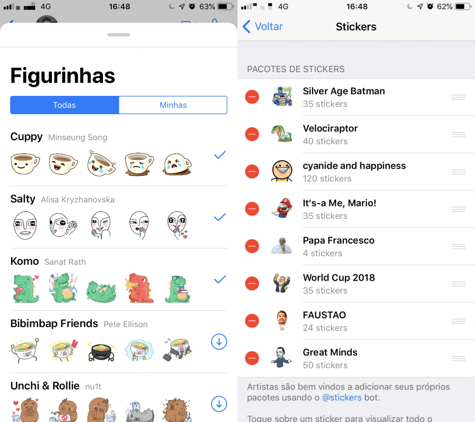 Interfaces de figurinhas do WhatsApp e Telegram, lado a lado.