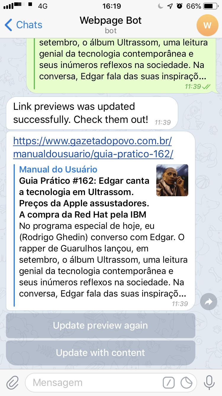 Print do robô Webpage Bot arrumando um link do Manual do Usuário.
