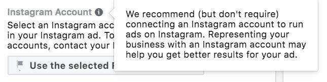 Observação do Facebook de que não é preciso ter conta no Instagram para veicular anúncios do Instagram.